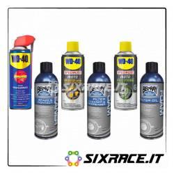 Kit completo pulitori e grasso spray per catena freni e filtro moto