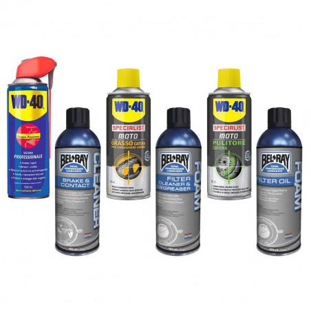 kit_6 Kit completo pulitori e grasso spray per catena freni e filtro moto