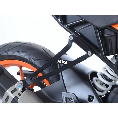 Staffa supporto scarico + piastra fori pedane posteriori KTM RC 125 17- / RC 3