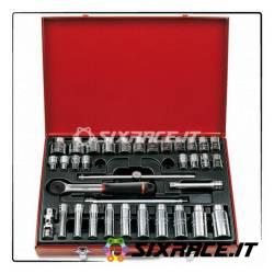 613 N 1/2 CLI - Assortimento in cassetta di lamiera con bussole poligonali (35 pz)