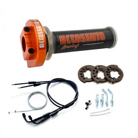 MY004 Contrôle des gaz orange ergal avec câbles et poignées GR002 noir pour YAMAHA YZFR1 2007 - 2008