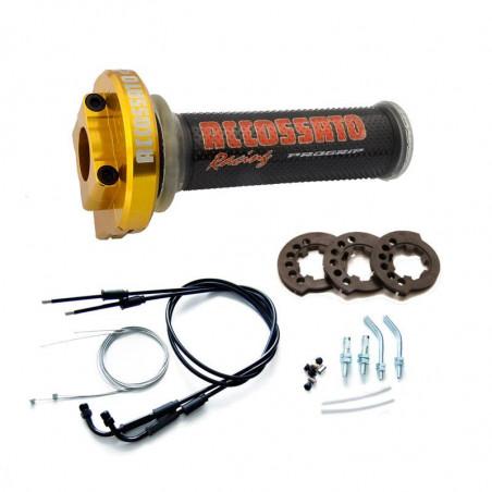 MY004 Contrôle des gaz en acier inoxydable avec câbles et poignées, noir GR002 pour YAMAHA YZFR1 2007 - 2008