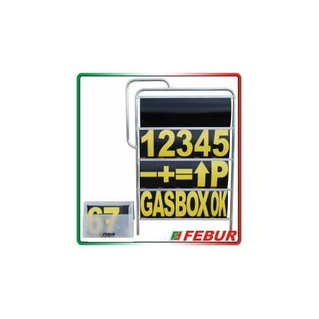 Tabella numeri box Febur alluminio a 4 o 5 ripiani + valigetta con 57 schede