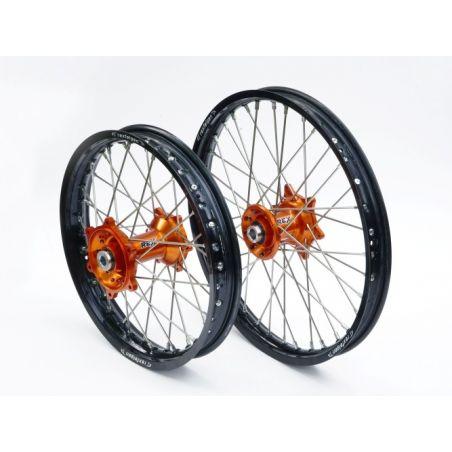 Ruote complete REX KTM 125 EXC 1998-2016 Cerchio nero - Mozzo arancione
