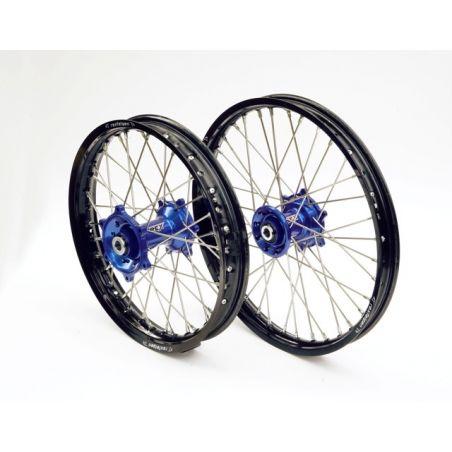 Ruote complete REX HUSABERG 125 TE 2011-2014 Cerchio nero - Mozzo blu