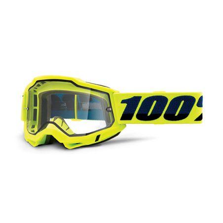 MASCHERA 100% ACCURI 2 ENDURO MOTO YELLOW - LENTE TRASPARENTE