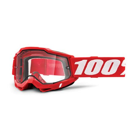 MASCHERA 100% ACCURI 2 ENDURO MOTO RED - LENTE TRASPARENTE