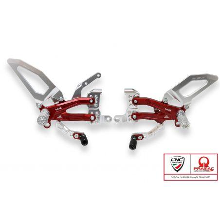 Pedane regolabili  per serie Panigale V4, V4 S e V4 Speciale - Pr Argento/Rosso
