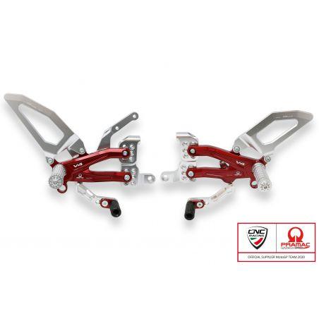 Pedane regolabili  per serie Panigale V4, V4 S e V4 Speciale - EA Argento/Rosso