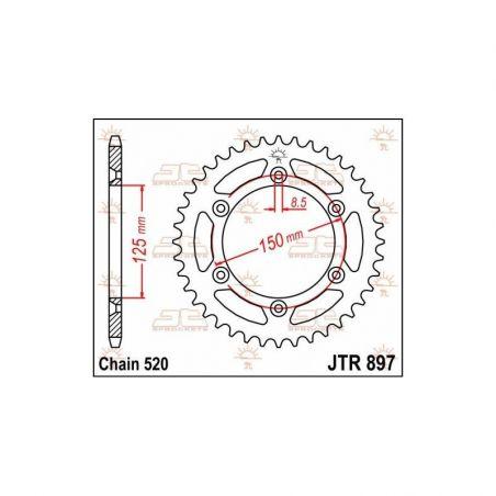 Corona in acciaio JT fuoristrada HUSQVARNA 125 TX 2017-2019